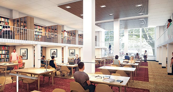 An architect's rendering of the Special Collections Reading Room, slated for the new Special Collections Research Center as part of the planned renovation of Fondren Library Center.