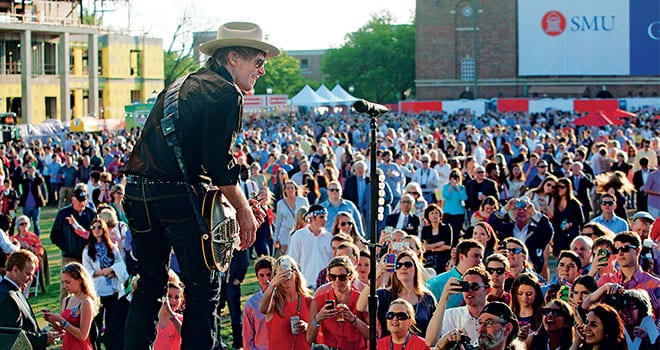 Country music star Jack Ingram '93 and his band entertained an estimated 13,000 members of the University community and campus neighbors at a Block Party sponsored by SMU and the George W. Bush Presidential Center the evening of the Center's dedication April 25.