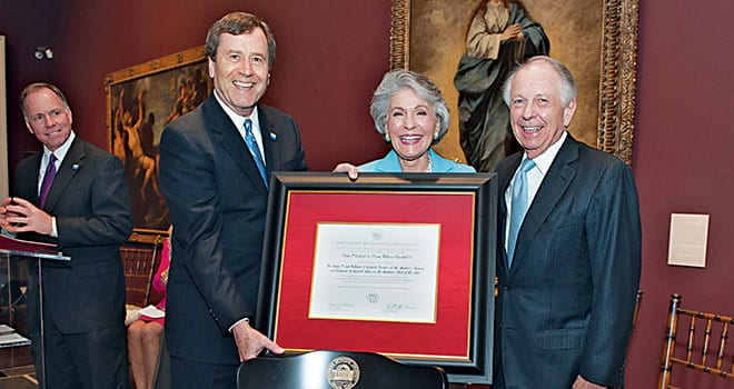 President R. Gerald Turner, Linda Pitts Custard '60, '99 and William A. Custard '57 with the certificate recognizing creation of the Linda P. and William A. Custard Director of the Meadows Museum and Centennial Chair in Meadows School of the Arts.