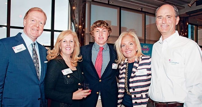 (L-R) Douglas Waggoner, Karin Waggoner, their son, incoming first-year student Reed Waggoner '17, Tracey Osbourne Damianos '84, and Christopher P. Damianos attend the New York-area gathering of SMU alumni, parents and friends.