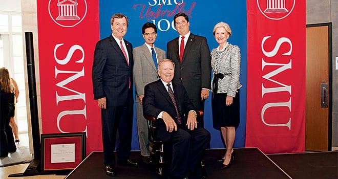 (L-R) President R. Gerald Turner, Frederick R. Chang, Bobby B. Lyle '67 (seated), Dean Marc P. Christensen, Trustee Chair Caren H. Prothro
