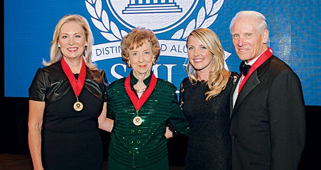 "SMU's annual Distinguished Alumni Awards dinner was held in a festive event tent on the historic main quadrangle on the evening of October 24. Honorees were (L-R) community leader Peggy Higgins Sewell '72, investor Jeanne Roach Johnson '54, women's and children's advocate Brittany Merrill Underwood '06 (the Emerging Leader Award recipient) and business leader Joseph ""Jody"" M. Grant '60. SMU also honored past recipients as Centennial History Makers."