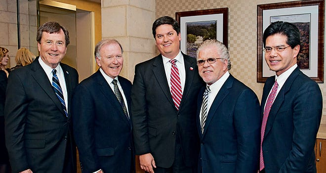 (L-R) R. Gerald Turner, SMU president; Bobby B. Lyle '67, SMU trustee; Marc P. Christensen, Lyle School dean; donor Darwin Deason; and Frederick R. Chang, Bobby B. Lyle Endowed Centennial Distinguished Chair in Cyber Security and head of the new Darwin Deason Institute for Cyber Security.