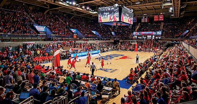The expanded and renovated Moody Coliseum and new Miller Event Center, dedicated December 21 at SMU's December Commencement ceremony, have drawn capacity crowds during Mustang men's basketball games.