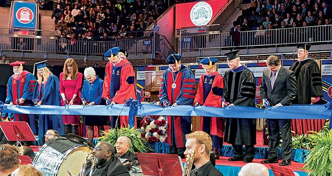(L-R) Paul W. Ludden, SMU provost; Morgan Beckwith '13, student representative; Frances Moody-Dahlberg '92, of the Moody Foundation; Carolyn Miller; SMU Trustee David B. Miller '72, '73; R. Gerald Turner, SMU president; Caren H. Prothro, chair, SMU Board of Trustees; Brad E. Cheves, SMU vice president for Development and External Affairs; and Rick Hart, SMU director of Athletics.