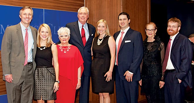 Carolyn Lacy Miller and her husband, SMU Trustee David B. Miller '72, '73 (third and fourth from left), along with family members, attended the Leadership Donor Celebration for Moody Coliseum and the Miller Event Center on December 17.