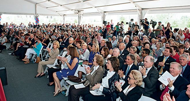 Media representatives joined SMU Trustees, alumni, family, friends and members of the campus community at the dedication of the new Residential Commons complex May 9.
