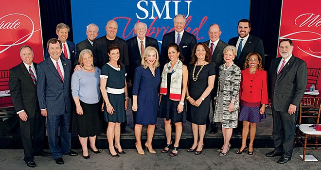 (Front row L-R) SMU Vice President for Development and External Affairs Brad E. Cheves, SMU President R. Gerald Turner, Katherine Raymond Crow '94, Liz Martin Armstrong '82, Anita Ray Arnold, Sylvie P. Crum, Penny R. Loyd, SMU Board Chair Caren H. Prothro, SMU Vice President for Student Affairs Lori White and SMU Provost Paul Ludden. (Back row L-R) Richard Ware '68, Harlan R. Crow, Bill Armstrong '82, Truman Arnold, Gary T. Crum '69, Paul B. Loyd, Jr. '68, and SMU Student Body President Ramón Trespalacios.
