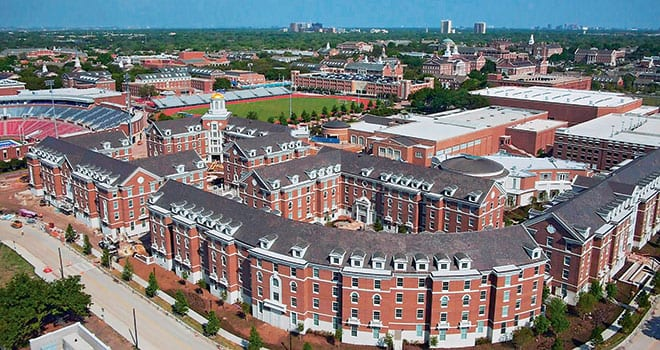 The new Residential Commons complex – five new Residential Commons, a Dining Commons and Mustang Parking Center (all pictured above) – are part of SMU's new Residential Commons model of campus living, consisting of 11 Residential Commons created from new and existing buildings.