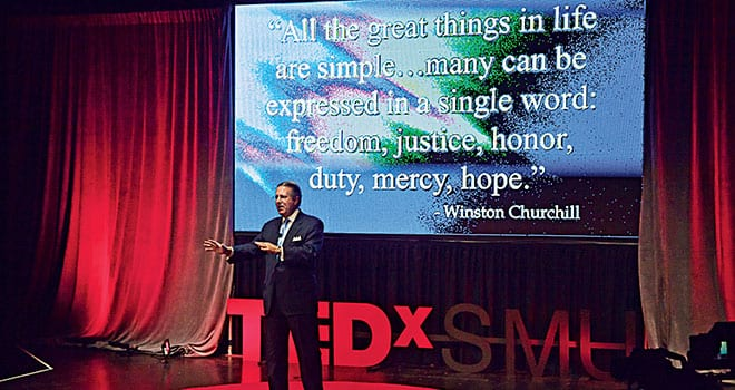 """Inside SMU Powered by TEDxSMU Dennis E. Murphree '69 discussed """"The Importance of Persistence"""" during Inside SMU, hosted by the SMU Alumni Board, April 11. The event followed the format of TEDxSMU and featured presentations by 17 SMU faculty members, alumni and students."""