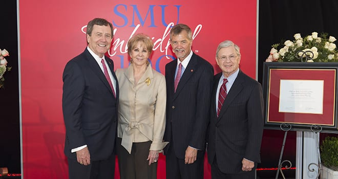 SMU broke ground Sept. 12 on Harold Clark Simmons Hall. (L-R) R. Gerald Turner, SMU president; Annette Caldwell Simmons '57; David J. Chard, Simmons School dean; and Michael M. Boone '63, '67, SMU board chair.