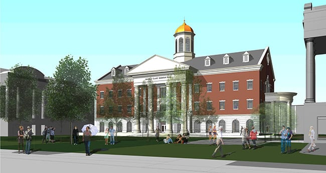 An architectural rendering of Harold Clark Simmons Hall