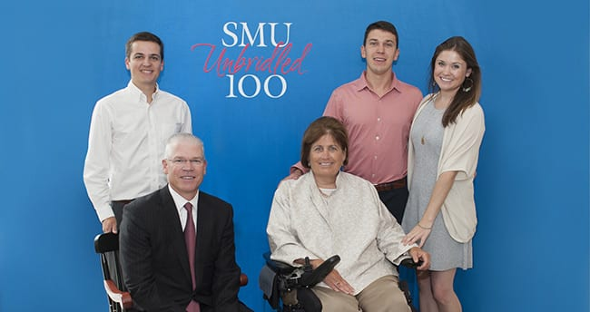 SMU Trustee Richard Templeton and Mary Templeton (seated) are joined by (L-R) nephew William Templeton, son Jim Templeton '14 and daughter Stephanie Templeton.