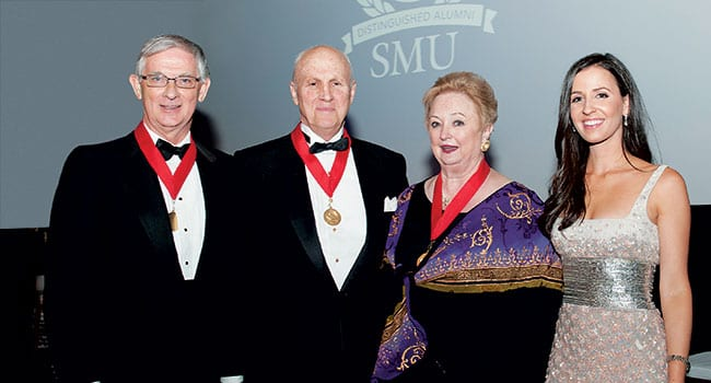 The Distinguished Alumni Awards, the highest honors SMU bestows upon its graduates, were presented in a campus ceremony November 13. (L-R) Recipients John F. Harper '68; Frank M. Dunlevy '71 and Mary Brinegar '69 with Emerging Leader Award winner Alexandra Dillard Lucie '05.