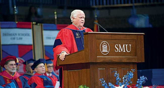 SMU Trustee Gerald J. Ford '66, '69, convening co-chair of The Second Century Campaign and one of the nation's most innovative and successful business leaders, addressed graduates at December Commencement at Moody Coliseum. Ford earned both a B.A. degree in economics and a J.D. degree on the Hilltop. He is a recipient of the Distinguished Alumni Award and the Mustang Award, recognizing significant philanthropic support of SMU. More than 600 students from SMU's seven schools graduated.