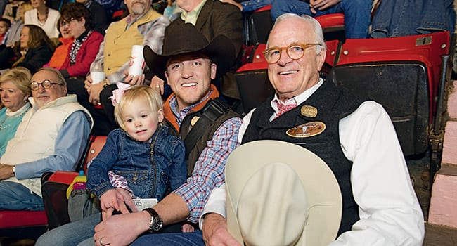 Albon O. Head Jr. '68, '71, co-chair of the Campaign Steering Committee for Fort Worth (right), son-in-law Bailey McGuire '07 and granddaughter Emma were among those in attendance at the Fort Worth Alumni, Parents and Friends outing at the Fort Worth Stock Show and Rodeo January 24. In addition to admiring the riding and roping skills of cowboy contestants, alumni enjoyed a barbecue lunch and received a briefing on SMU progress from Brad E. Cheves, vice president for Development and External Affairs.
