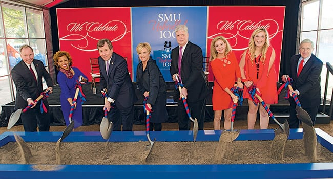 (L-R) SMU Vice President for Development and External Affairs Brad E. Cheves; SMU Vice President for Student Affairs Lori S. White; SMU President R. Gerald Turner; Dr. Bob and Jean Smith Foundation President Sally Smith Mashburn '77; Foundation Directors Scott Smith '79 and Marty Smith Kelley '81; Katie Thompson '16, president of Mustangs Who Care; and SMU Board Chair Michael M. Boone '63, '67.