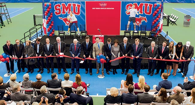 A ribbon-cutting ceremony marked the opening of the new SMU Tennis Complex on February 20.