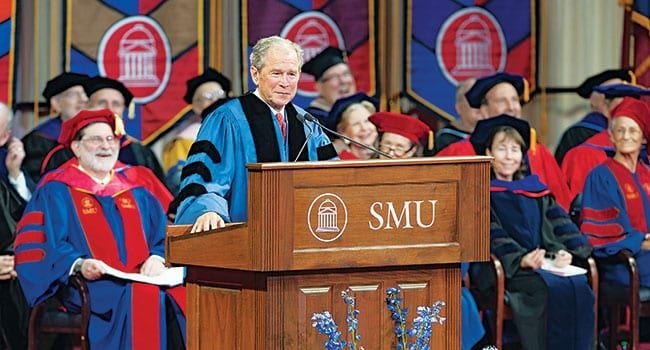 "George W. Bush, the 43rd president of the United States, delivered the principal address at SMU's 100th May Commencement. ""You are graduating from a great university,"" Pres. Bush told the graduates, their families and friends gathered in Moody Coliseum and watching simulcasts. ""Your SMU degree will open the door to a wide variety of career options. It has given you the tools to be productive citizens."" In May, SMU awarded more than 2,000 undergraduate, graduate and professional degrees."