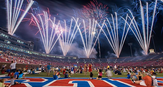 SMU's centennial is celebrated with fireworks following the football game in Ford Stadium.