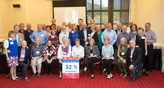 Members of the Class of 1970 highlight class-giving percentage at their reunion.