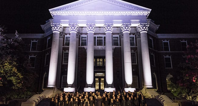 The lighting of Dallas Hall previewed a gift from SMU's Alumni Board. SMU's oldest building will be lighted every evening in honor of the University's second century.