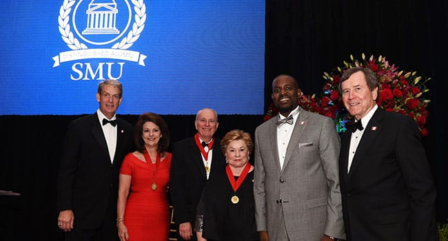 Alumni Board Chair Peter A. Lodwick '77, '80 with DAA recipients Billie Ida Williamson '74, Donald F. Jackson '63, Bess Fraser Enloe '60, Emerging Leader Awardee Michael W. Waters '02, '06, '12 and President Turner.