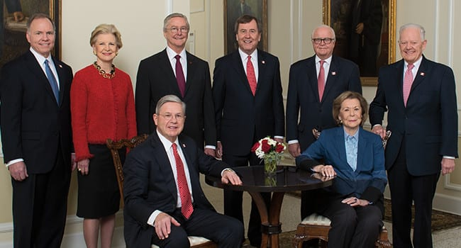 Unrivaled Leadership Co-chairs spearheaded SMU's campaign success. (L-R, seated) Michael M. Boone '63, '67; Ruth Collins Sharp Altshuler '48. (L-R, standing) Brad E. Cheves, SMU vice president for Development and External Affairs; Caren H. Prothro; Carl Sewell '66; R. Gerald Turner, SMU president; Gerald J. Ford '66, '69, Convening Co-chair; Ray L. Hunt '65.