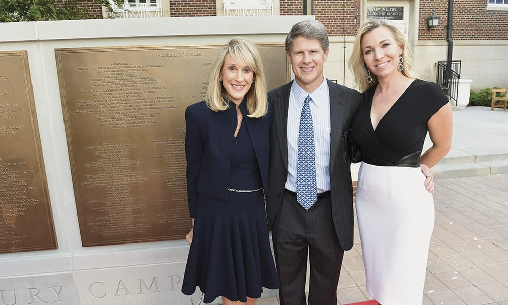 Norma K. Hunt, Clark K. Hunt '87 and Tavia S. Hunt were among the hundreds of guests who found their names on the campaign monument that honors the leading donors to The Second Century Campaign.
