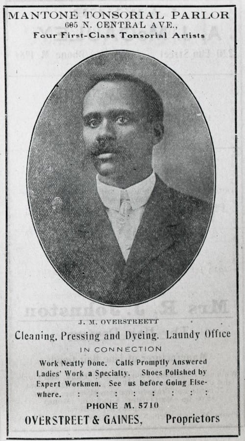 Sample of an advertisement for African-American business, in this case a barbershop and launderer, in 1911