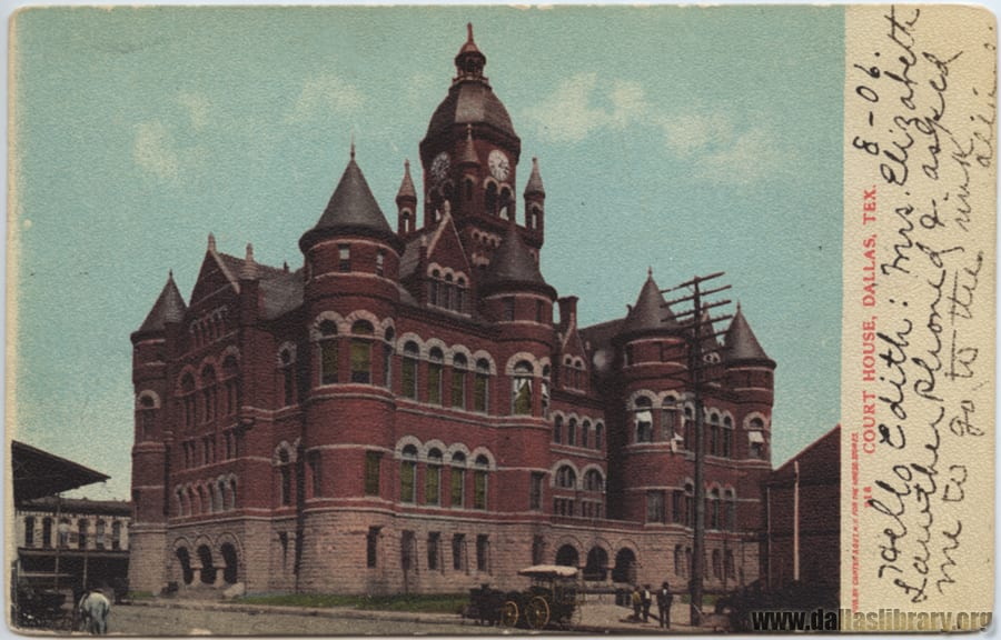 Souvenir postcard of Dallas County courthouse with 1906 inscription