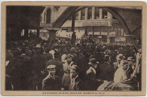 Print souvenir postcard of Allen Brooks Lynching, March 3, 1910.