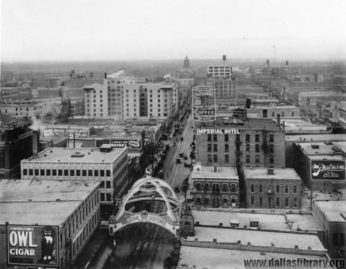 Aerial view looking east from the Praetorian Building, Dallas's first skyscraper, 1910