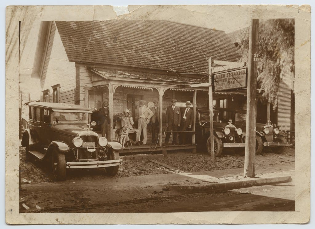 Allen St. Taxi Co., an African-American business in the State-Thomas neighborhood, undated