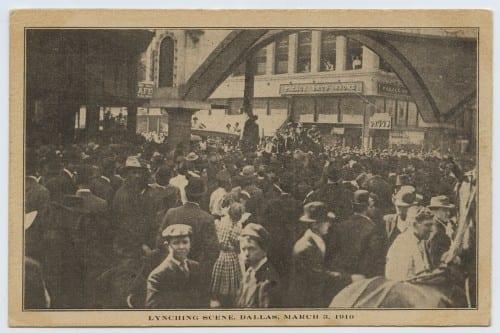 Print souvenir postcard from Allen Brooks lynching, March 3, 1910.