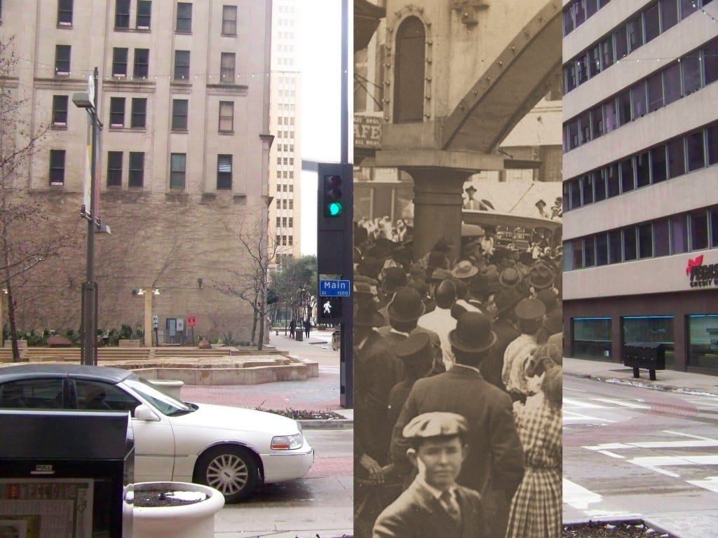 Looking south on Akard at Main in 2015, overlaid with 1910 lynch mob photograph
