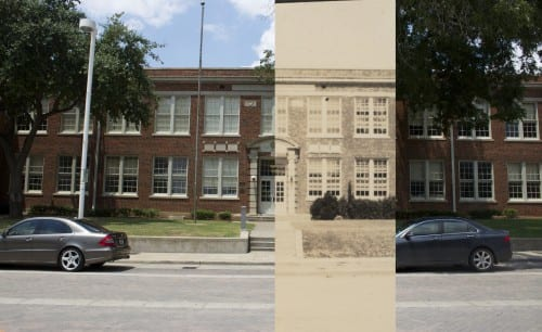 Booker T. Washington High School in 2015 overlaid with 1932 photograph.