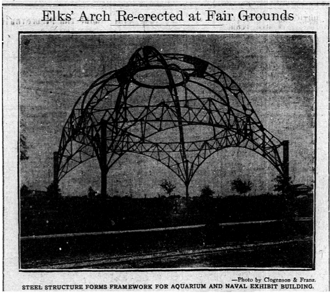 Elks' Arch Re-erected at Fair Grounds