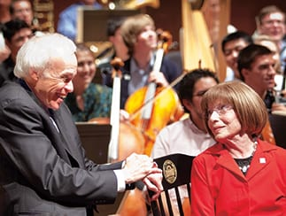 Meadows Symphony Director Paul Phillips  and donor Martha Raley Peak at the gift presentation in September.