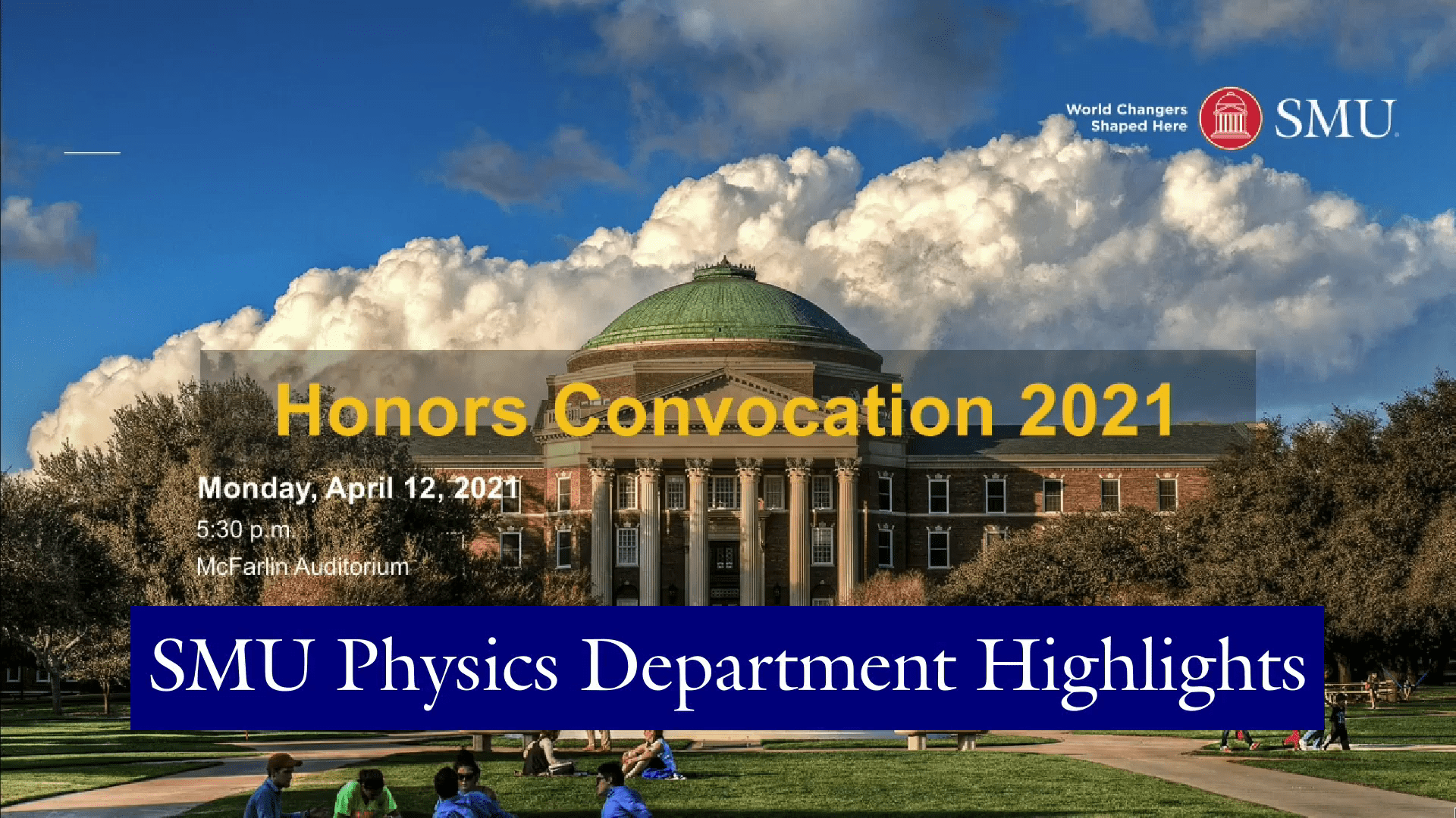 Physics Department Friday Newsletter for April 16, 2021