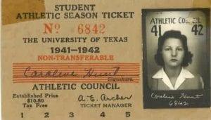 Student season ticket, University of Texas 1941-1942