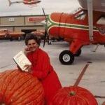 Caroline Rose Hunt posing with Pumpkins and Pumpkin Air, 1979