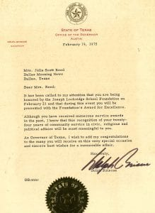 Letter from Texas Governor Dolph Briscoe, February 19, 1975