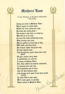 Mother's Lane poem, undated