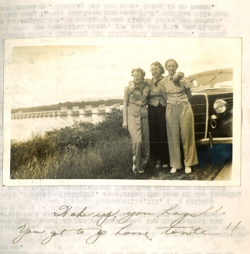 """Photograph of Elizabeth and friends. Caption reads: """"Wake up you hags! You got to go home tonite!"""""""