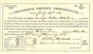 Nellie Pettibone's teacher certificate, July 31, 1886.