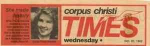 Headline Corpus Christi Times, October 20, 1982