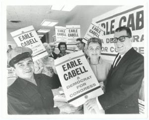 Earle and Elizabeth Cabell with campaign supporters