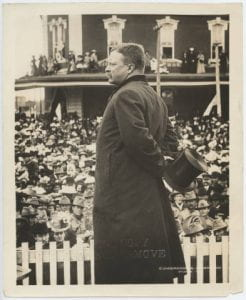 Theodore Roosevelt giving a speech in Kansas