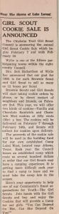 Girl Scout Cookie Sale Announced clipping, 1959